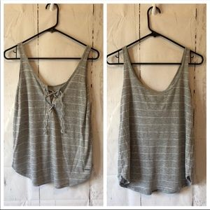 Abercrombie & Fitch Tops - A&F striped lace up tank top
